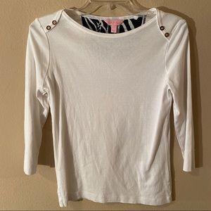 Lilly Pulitzer Sz Small White Cotton shirt